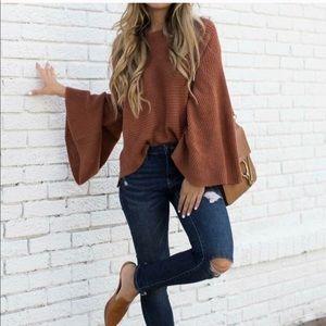 Sweaters - Rust Bell Sleeve Sweater